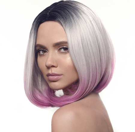 Ombre bob hairstyle girl portrait. Beautiful short hair ...