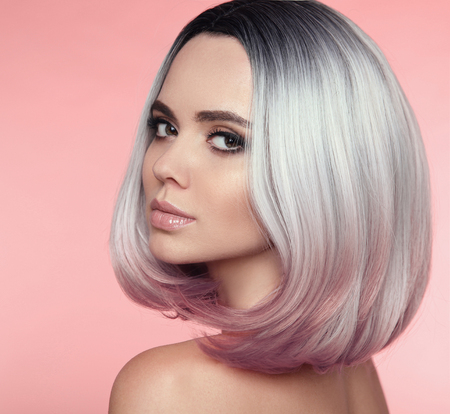 Girl Portrait of Ombre bob short hairstyle. Beautiful hair ...