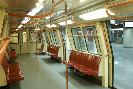 underground subway, inside view with opened doors