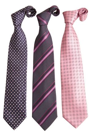 front view of three ties on white background