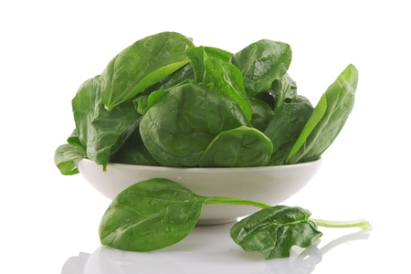front view of fresh spinach in a white bowl