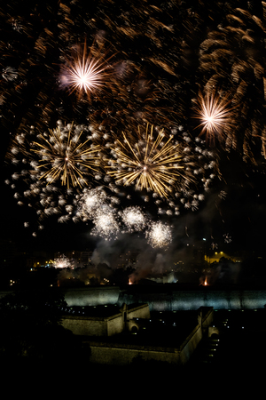 Fireworks in Pamplona during the festival of San Fermines.
