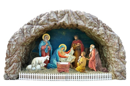 a traditional ukrainian Christmas model of Nativity scene with the Child, the Mother Mary and Joseph, shepherds and vicemen and adoration of the Magi