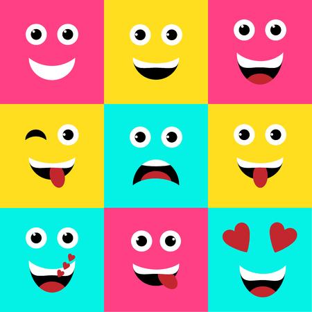 Illustration pour Vector illustration. Set of colorful square emoticons, emoji flat backgound vector design - image libre de droit