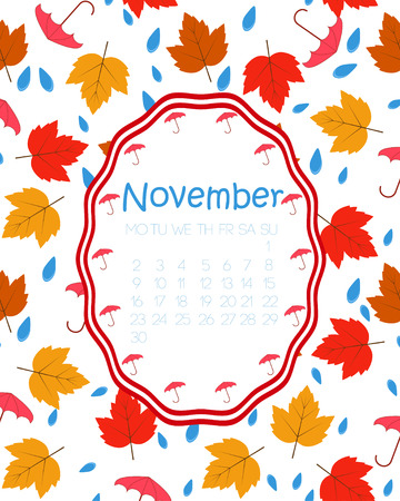 Colorful calendar for November, with red and yellow maple leaves and raindrops.