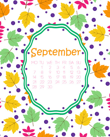 Colorful calendar for September, with green and yellow maple leaves, and berries.