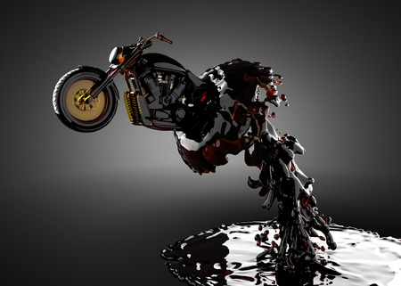 chopper bike in liquid made in 3D
