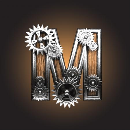 metal figure  with gearwheels made in vector