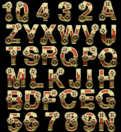 raster alphabet with gearwheels