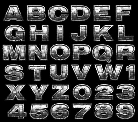 steel alphabet set on black