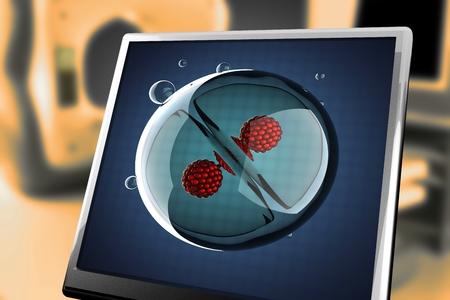 A micro cell division process illustration at monitor