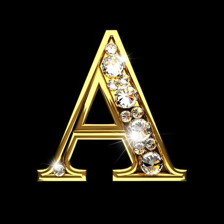 Photo pour a isolated golden letters with diamonds on black - image libre de droit