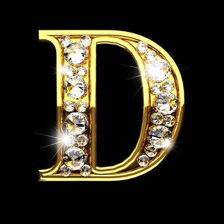 Photo pour d isolated golden letters with diamonds on black - image libre de droit