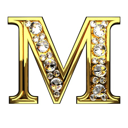 Foto de m isolated golden letters with diamonds on white - Imagen libre de derechos
