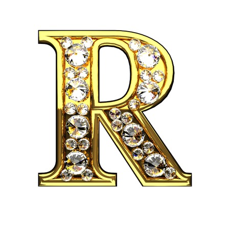 r isolated golden letters with diamonds on white
