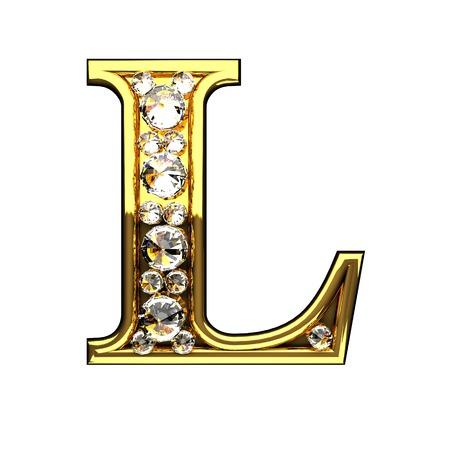 Photo pour l isolated golden letters with diamonds on white - image libre de droit