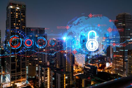 Foto für Glowing Padlock hologram, night panoramic city view of Bangkok, Asia. The concept of cyber security to protect companies. Double exposure. - Lizenzfreies Bild
