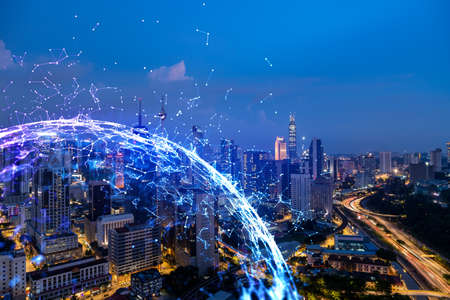 Photo for Abstract technology icons, night aerial panoramic cityscape of Kuala Lumpur, Malaysia, Asia. The concept of innovative approach to optimize international business process. Double exposure. - Royalty Free Image