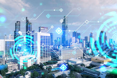 Photo for Technology hologram over panorama city view of Bangkok. The largest tech hub in Asia. The concept of developing coding and high-tech science. Double exposure. - Royalty Free Image