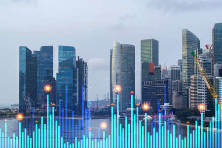 Photo pour Financial stock chart hologram over panorama city view of city, business center in Asia. The concept of international transactions. Double exposure. - image libre de droit