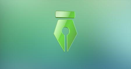Fountain Pen Nib Color 3d Icon on Gradient Background