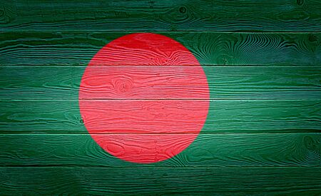 Photo pour Bangladesh flag painted on old wood plank background. Brushed natural knotted wooden board texture. Wooden texture background flag of Bangladesh. - image libre de droit