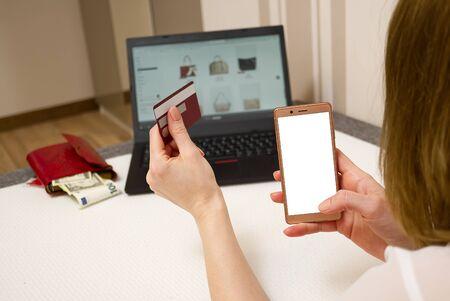 Photo pour Online shopping with laptop from home concept. mock up. - image libre de droit