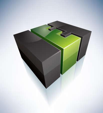 3D E green logo letter