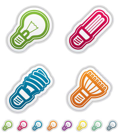 Office Supply Objects: lightbulb, fluorescent eco lightbulb,spiral fluorescent eco lightbulb, led eco lightbulb. Group of four icons. All icons are part of the &quot,Green Stickers Icons Set&quot, made in 8 different CMYK color option placed on separate l