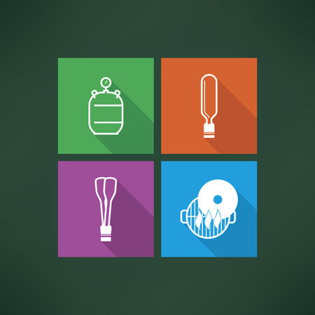 Four icons in relation to a Baby born time - Baby care objects, pictured here from left to right, top to bottom: 