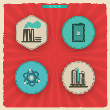 Industry & Heavy industry icons set, pictured here from left to right - 