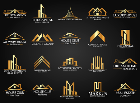 Ilustración de Set and Group Real Estate, Building and Construction Vector Logo - Imagen libre de derechos