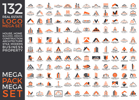 Ilustración de Big Set and Mega Group, Real Estate, Building and Construction Vector Logo Design Eps 10 - Imagen libre de derechos