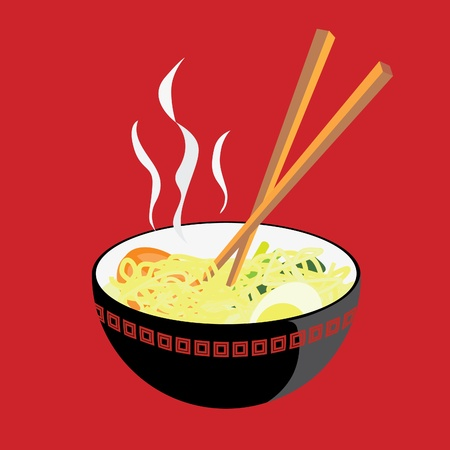 A vector illustration of a bowl of hot noodle, with some tomato slices, an egg, and some mustard