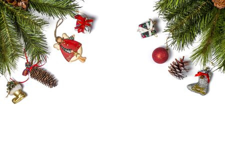 Photo pour Christmas frame decorated with snowflakes on white  with copy space for your text. Top view. - image libre de droit