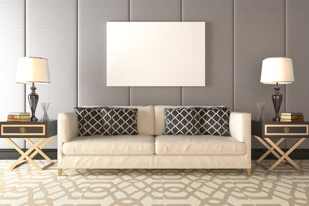 Photorealistic 3D render of a living room