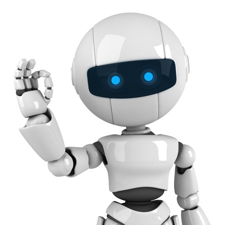 Funny white robot stay and sign ok