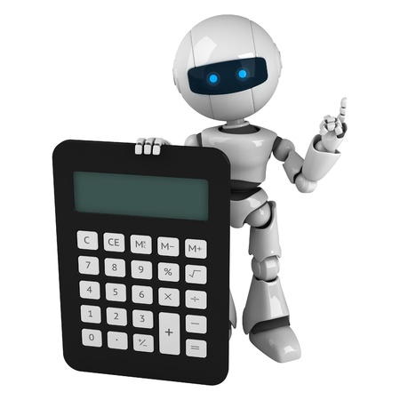 Funny white robot stay and show calculator
