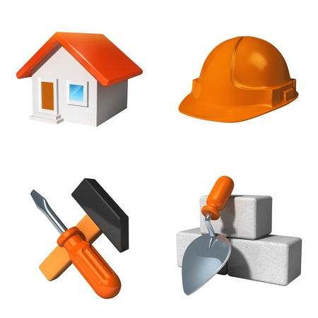 Construction icons set isolated on whiteの写真素材