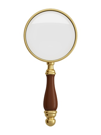 Antique gold magnifier isolated on white