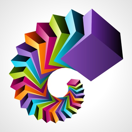 Fly colorful 3d cubes vector background