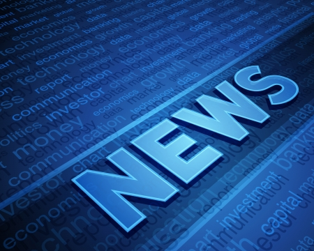 3d news text in perspective with tags vector background