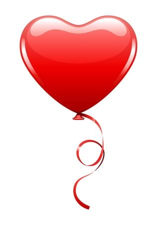 Heart as air balloon with ribbon