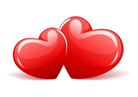 Two red glossy hearts in perspective illustration
