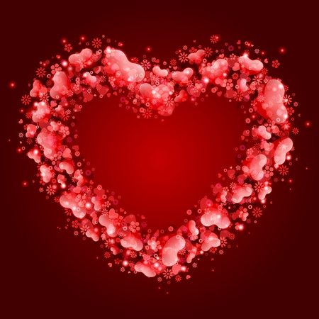 Illustration pour Valentine day card with hearts frame vector background - image libre de droit