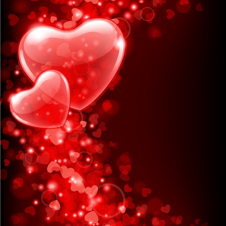 Valentine day vector background with abstract hearts