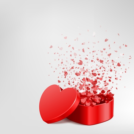 Vector background with open heart gift and fly hearts