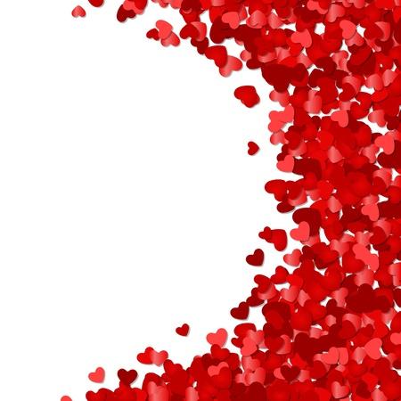 Ilustración de Red hearts confetti Valentine day or Wedding vector background  - Imagen libre de derechos
