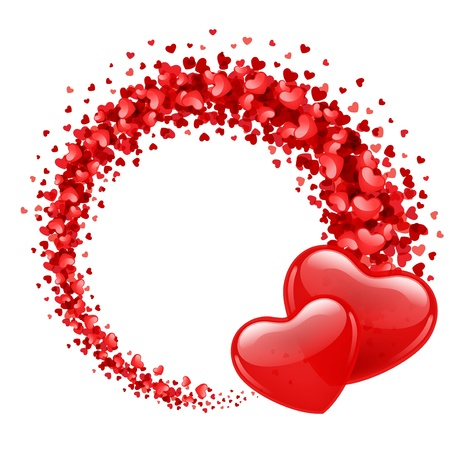 Valentine day vector background with two hearts