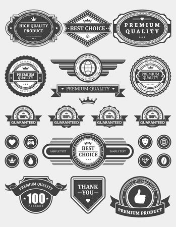 Ilustración de Vintage style retro emblem label collection vector design elements  - Imagen libre de derechos